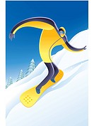 Illustration of a man snowboarding