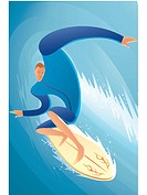 Illustration of a surfer