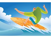 Illustration of a man surfing (thumbnail)