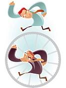 Man running on a wheel