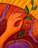 An illustration of a hand holding a seedling