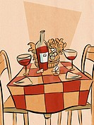 A table setting for a dinner for two (thumbnail)
