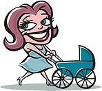 Mother pushing pram (thumbnail)