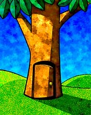 A drawing of a tree with doorway (thumbnail)