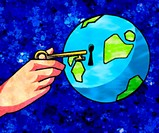 A graphical representation of a hand unlocking the earth
