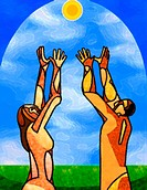 Man and woman reaching towards the sun (thumbnail)