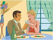 Man and woman on a romantic dinner date (thumbnail)