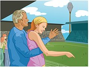 Couple at a soccer game (thumbnail)
