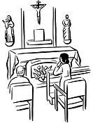 People praying in a chapel illustrated in black and white