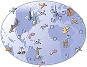 A drawing of airplanes flying around the world