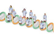 doctors standing on a dna strand