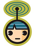 Person with signal on their head