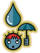 A boy shielding a giant raindrop with a small umbrella
