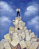 An illustration of a man standing on a pile of paper (thumbnail)