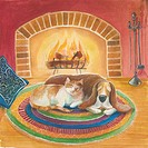 A picture of cat and dog sleeping by the fire