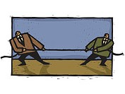 Two businessmen engaging in a tug of war (thumbnail)