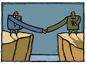 Two businessmen exchanging a long handshake over a cliff