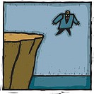 A businessman walking off the cliff