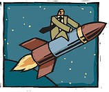 A businessman riding a rocket