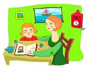 Mom helping her daughter with homework (thumbnail)