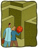 people with a compass entering a maze