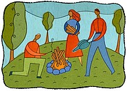Three people lighting a camp fire