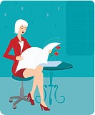 Businesswoman reading a newspaper (thumbnail)