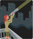 Businesswoman looking through a telescope (thumbnail)