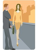 A businesswoman walking pass a businessman on her way to work