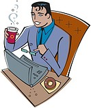 Businessman using a laptop and drinking coffee