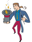 A magician pulling money out of a hat
