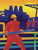 Illustration of a pipefitter