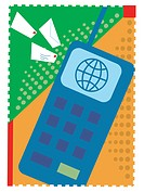 An illustration of emailing by cell phone