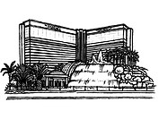 The Mirage Hotel, Las Vegas illustrated in black and white