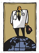 A doctor standing on a globe