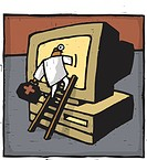 A doctor climbing into the computer (thumbnail)