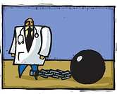 A doctor tied to ball and chain