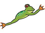 A leaping frog drawn on a white background