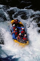 White water rafting, White Salmon River. Husum Falls, Washington, USA