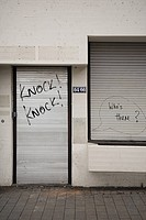Graffiti on closed shutters