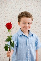 Boy holding a rose