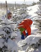 two women in winter landscape