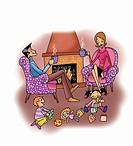 Happy couple in living room with children