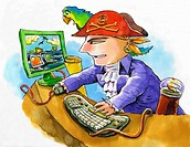 Pirate on his computer