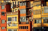 Coloured houses on the Onyar Riverside. Girona. Spain