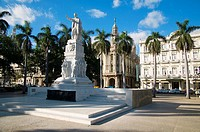 Jose Marti Monument in front of Hotel Inglaterra (right) and Gran Teatro de la Havana (left). Havana, Cuba