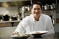 Asian male chef in kitchen