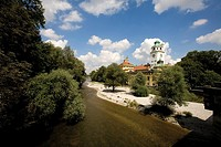 germany, Bavaria, Munich, Isar river and Muellersches Volksbad