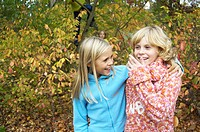 Children, girl, two, arm in arm, walk, forest, autumn, semi-portrait, friends, friendship, 8-12 years, blond, sweater, autumnal, fun, cheerfully, frie...