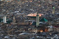Morocco, Fes, Fes El Bali, city view, twilight, city, district, Old Town, houses, residences, towers, minarets, architecture, lights, twilight,
